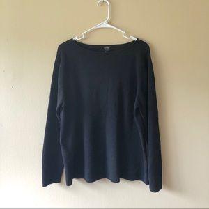 Eileen Fisher Black 100% Wool Sweater Size 2X